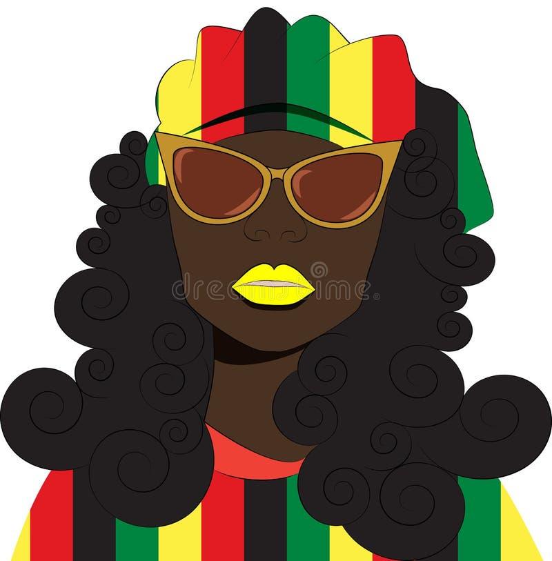 Девушка Rastafarian в берете и солнечных очках иллюстрация вектора