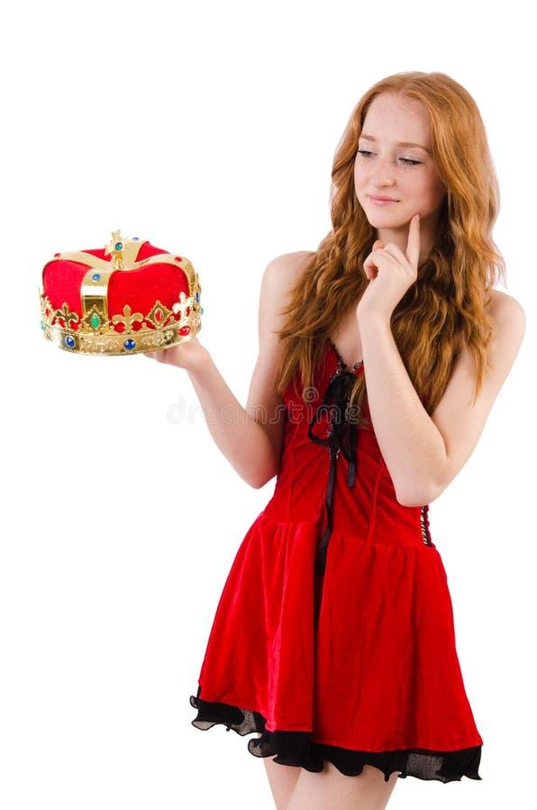Девушка Redhead милая в концепции ферзя стоковые изображения
