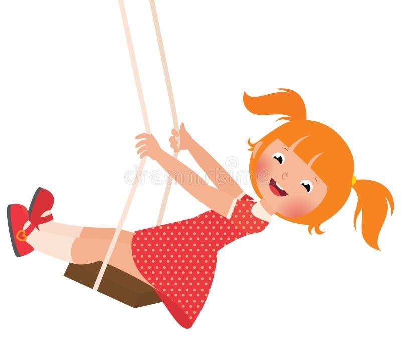 Девушка Redhead на качании иллюстрация штока