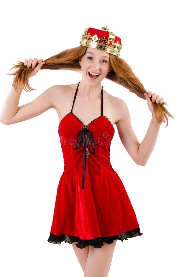 Девушка Redhead с концепцией n кроны смешной стоковое изображение