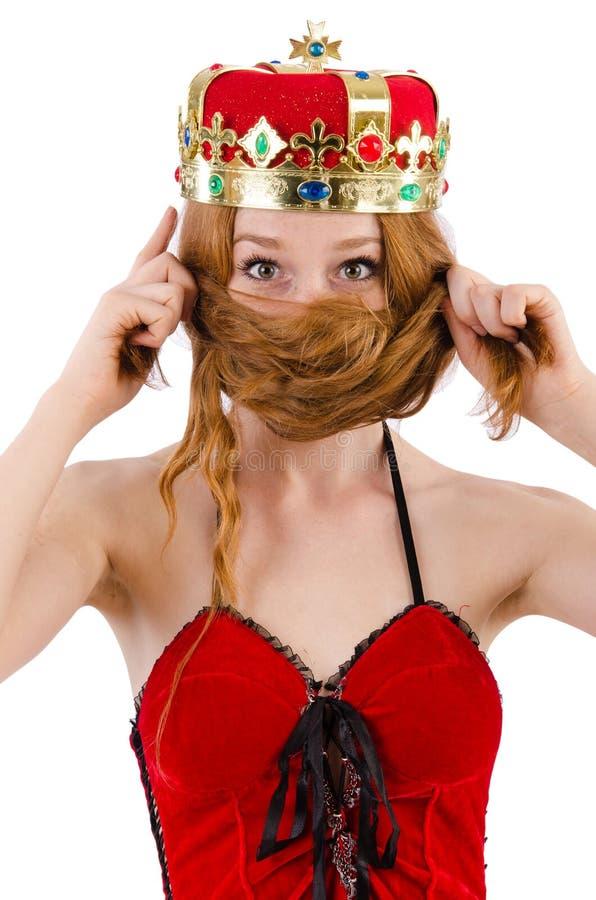 Девушка Redhead с концепцией n кроны смешной стоковые изображения rf