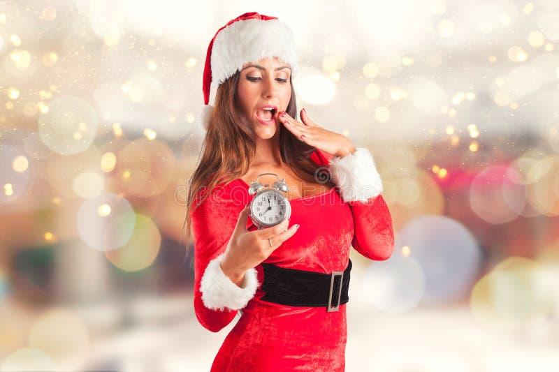 девушка santa рождества стоковое изображение
