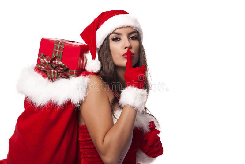 Девушка santa тайны с подарками стоковое фото