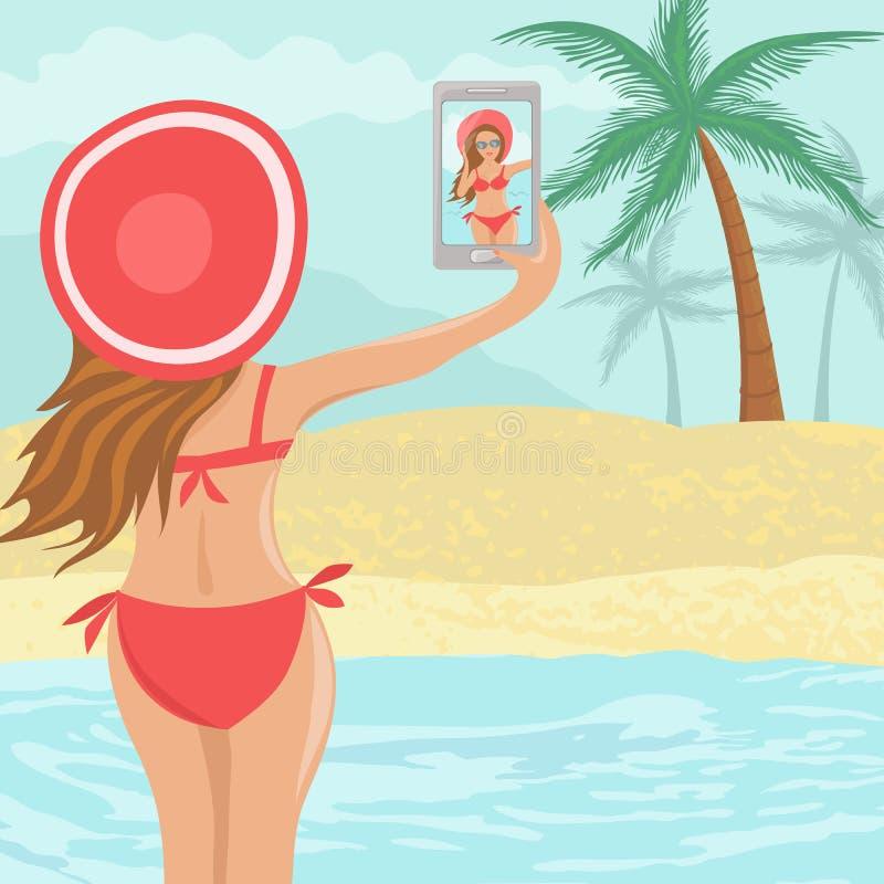 Девушка Selfie красивая на пляже