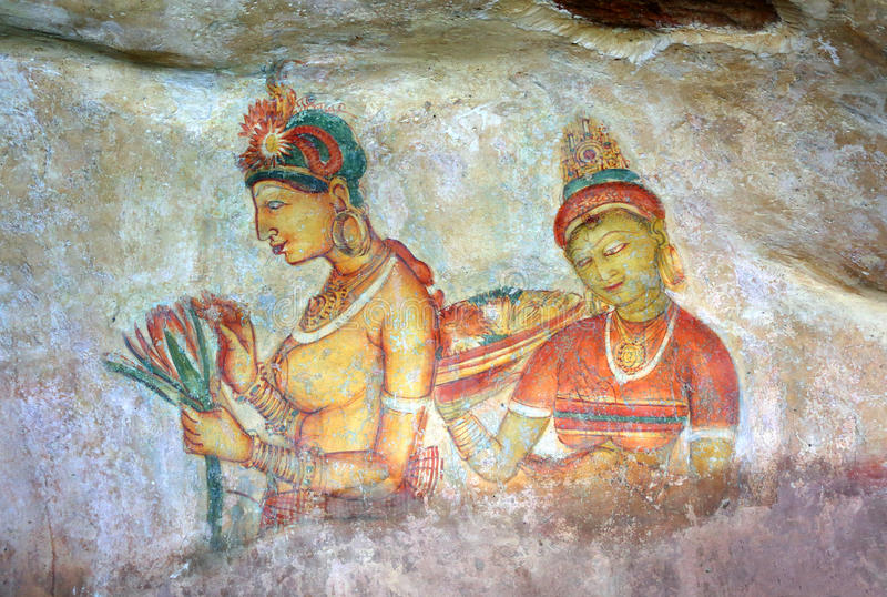 Девушка Sigiriya - фрески на крепости в Шри-Ланке стоковые изображения