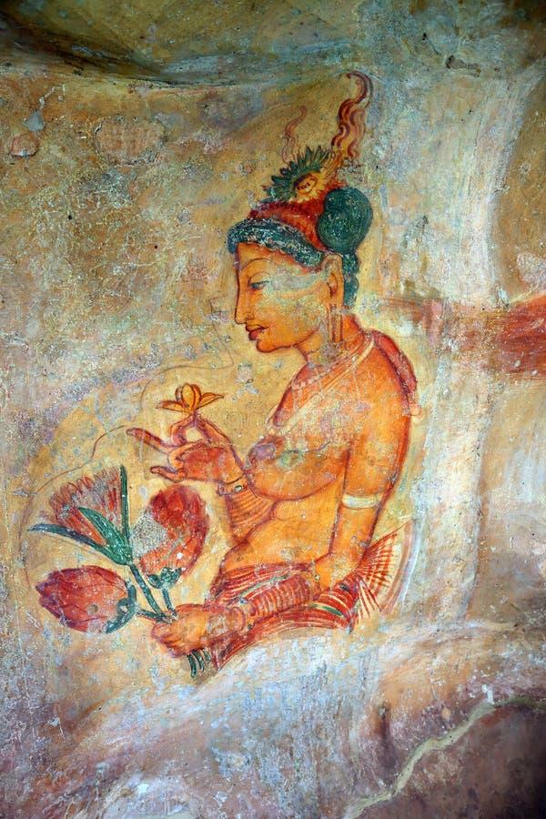 Девушка Sigiriya - фрески на крепости в Шри-Ланке стоковые фото