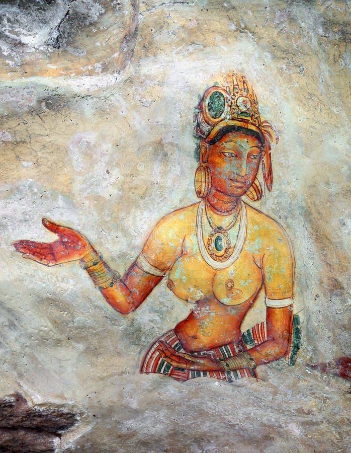 Девушка Sigiriya - фрески на крепости в Шри-Ланке стоковое фото rf