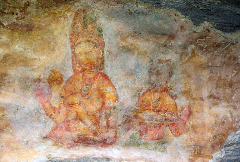Девушка Sigiriya - фрески на крепости в Шри-Ланке стоковые фотографии rf