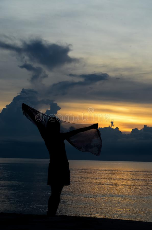 девушка sihouette на пляже стоковое изображение rf