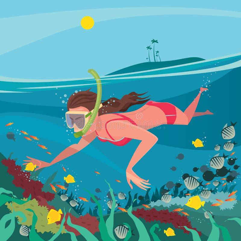 Девушка snorkeling вокруг кораллового рифа иллюстрация вектора