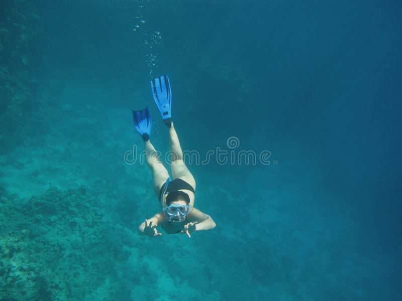 девушка snorkeling стоковые изображения rf