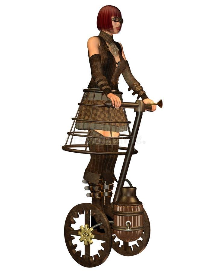 Девушка Steampunk на использующем энергию пар переходе бесплатная иллюстрация
