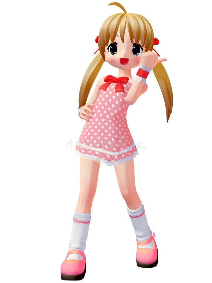 девушка toon anime иллюстрация вектора