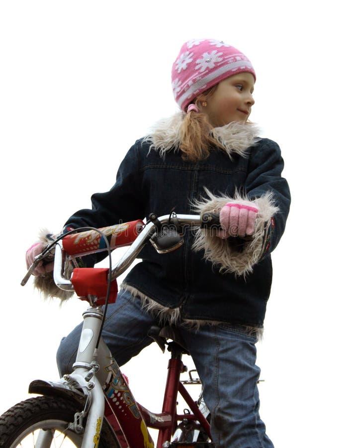 девушка yong велосипеда стоковые фотографии rf