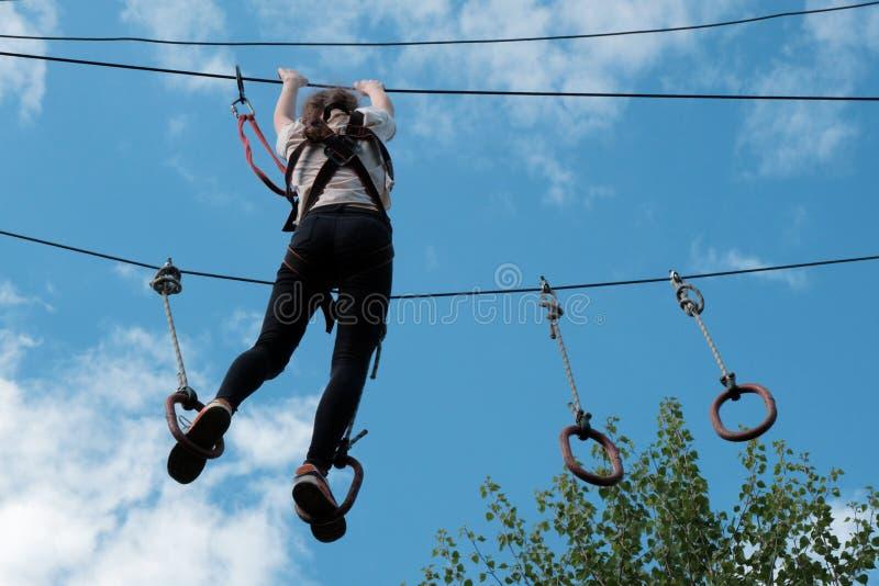 Девушка ziplining в парке приключения treetop Взбираясь парк натянутой проволоки Проход полосы препятствий над деревьями против н стоковое фото