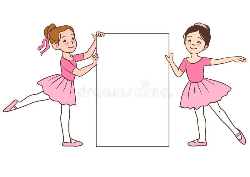Девушки балерины шаржа держа пустой шаблон знака бесплатная иллюстрация