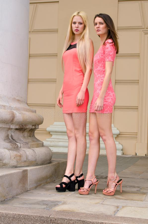 Девушки, блондинка и брюнет, вкратце розовые платья стоят в здании сводаÂ старом каменном с большими столбцами стоковое изображение