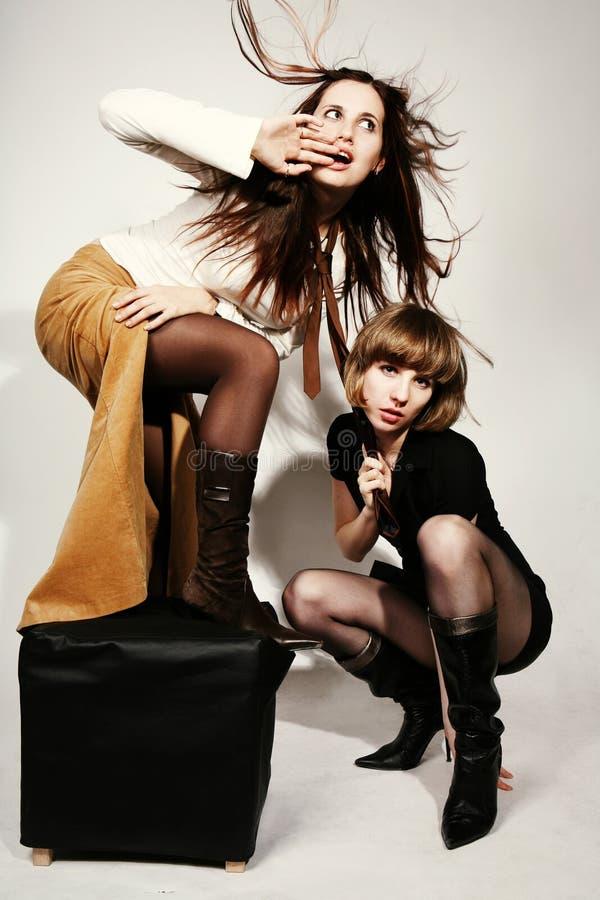 девушки ветреные стоковое фото rf