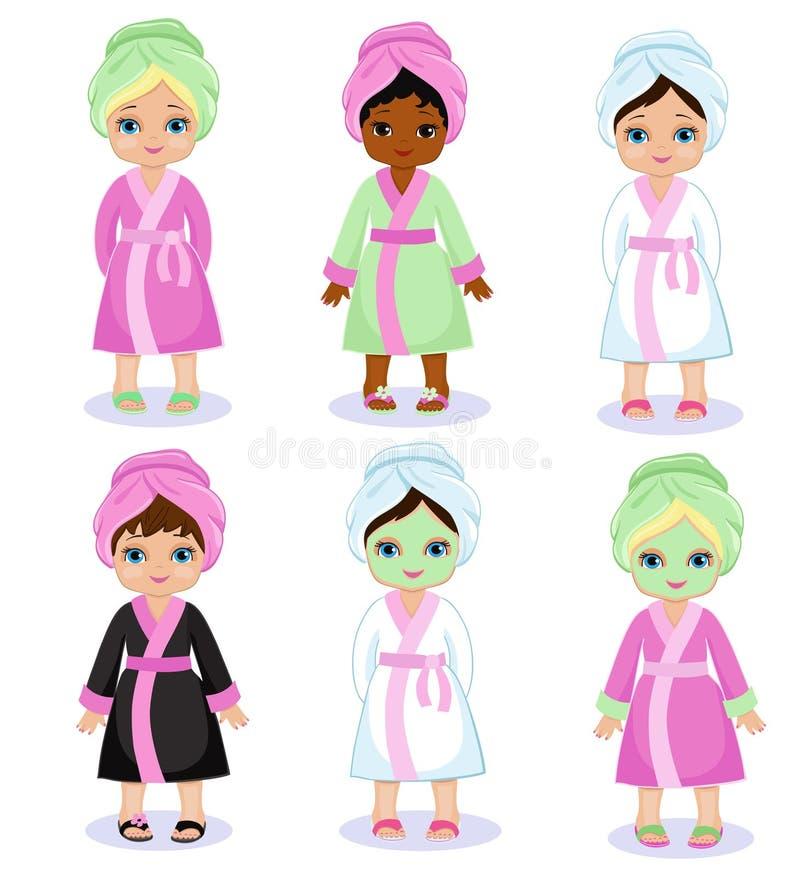 Девушки в обработках курорта взятия купального халата иллюстрация штока