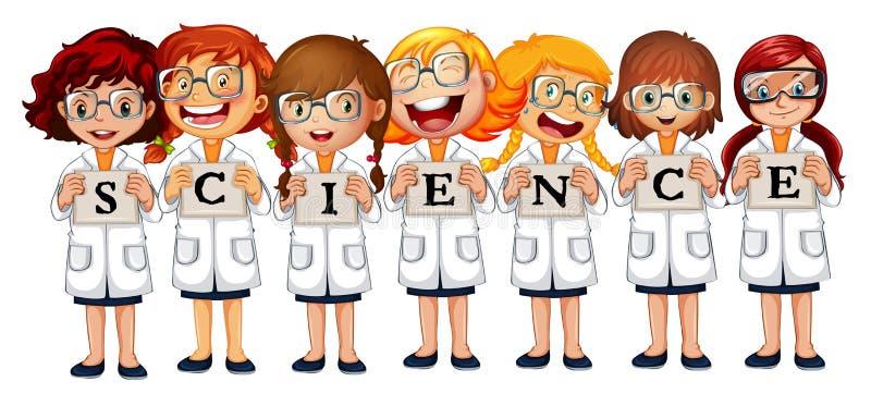 Девушки в пальто науки и науке слова иллюстрация вектора