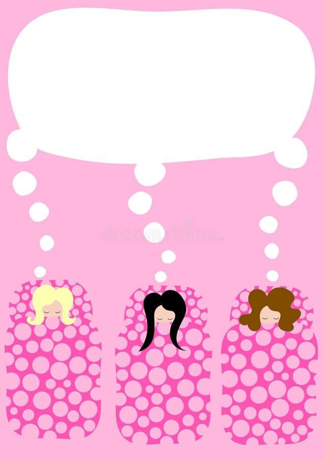 Девушки в приглашении партии pyjama спальных мешков иллюстрация вектора