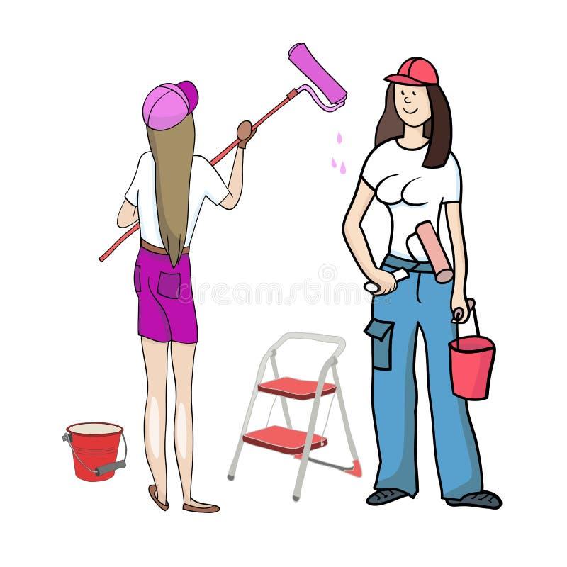 Девушки деятельности красят стены бесплатная иллюстрация
