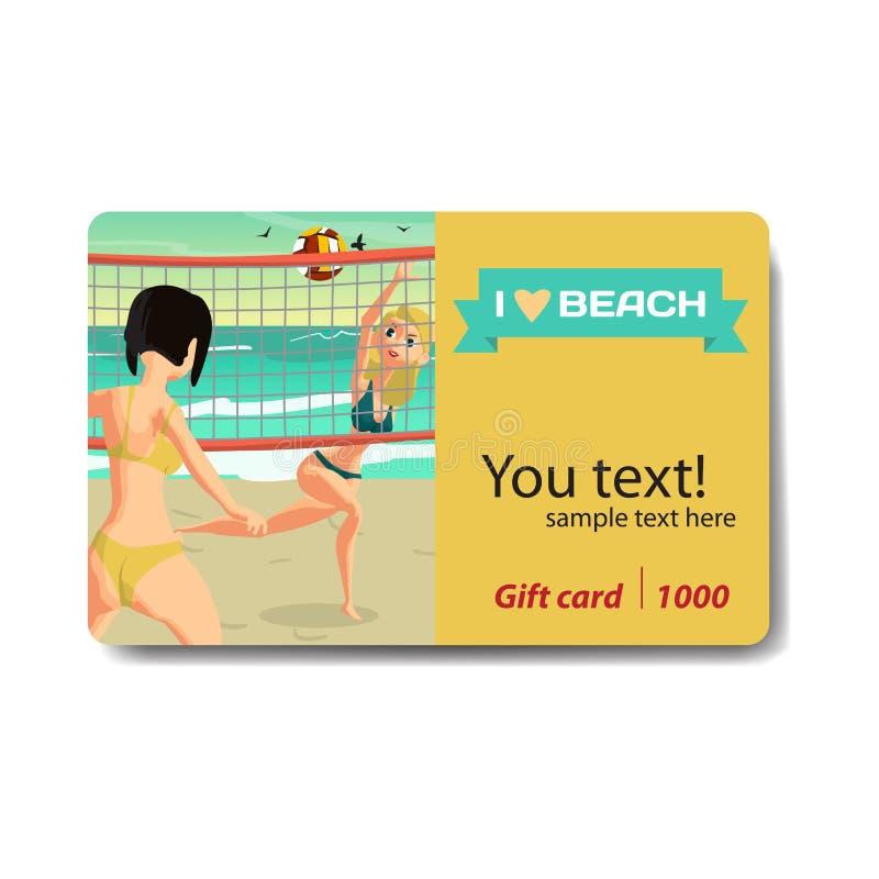 Девушки играя волейбол на пляже на заходе солнца Скидка g продажи иллюстрация вектора