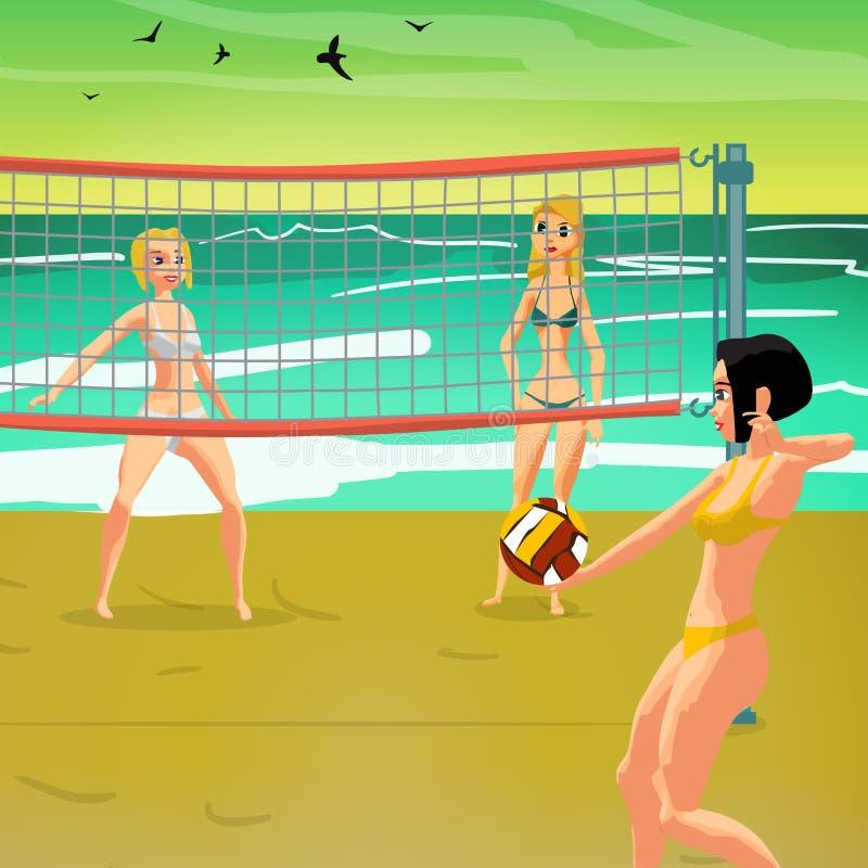 Девушки играя волейбол на пляже на заходе солнца бесплатная иллюстрация