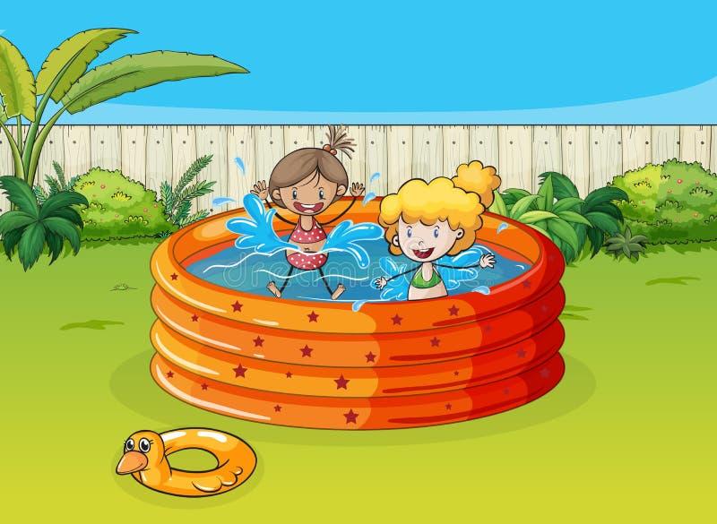 Девушки играя в плавательном бассеине иллюстрация штока