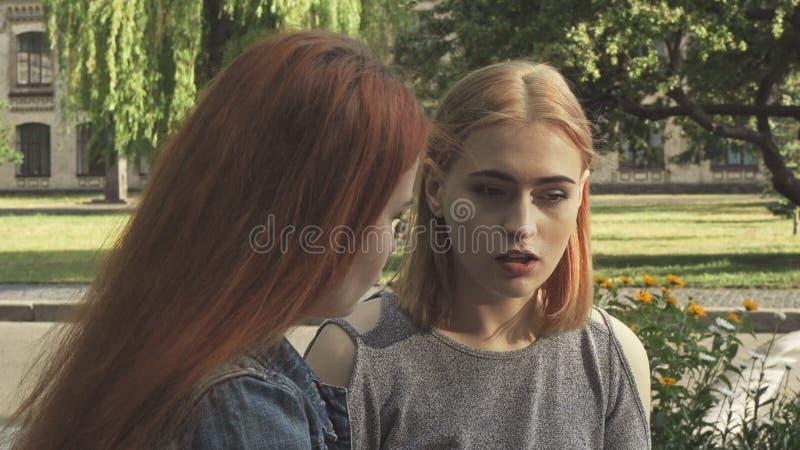 2 девушки имея беседу стоковые фотографии rf