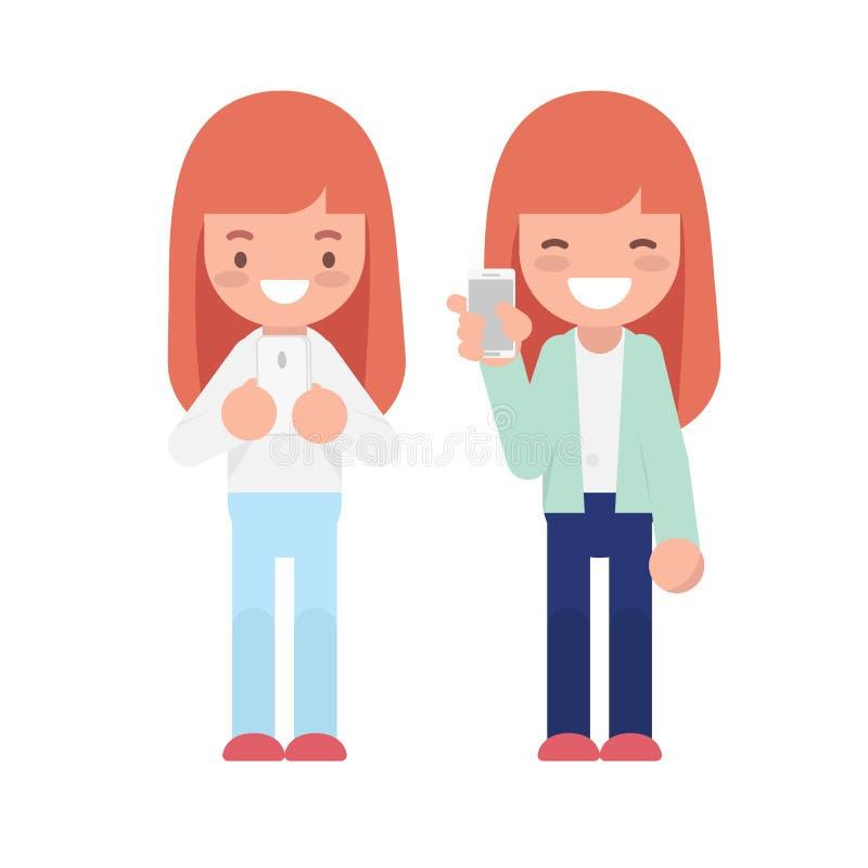 2 девушки используя характер smartphone и selfie милый плоский иллюстрация вектора