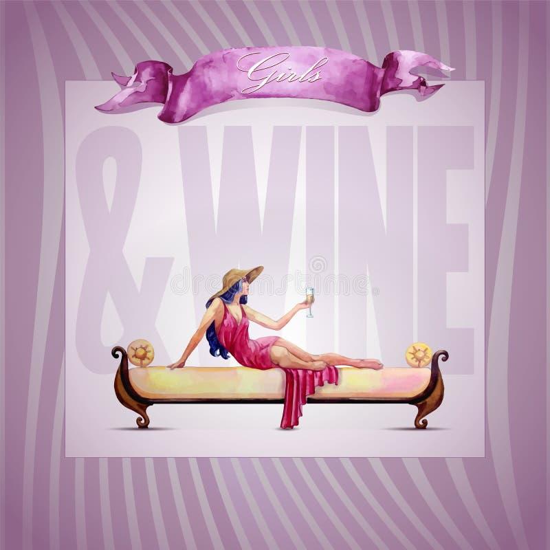 Девушки и вино иллюстрация штока