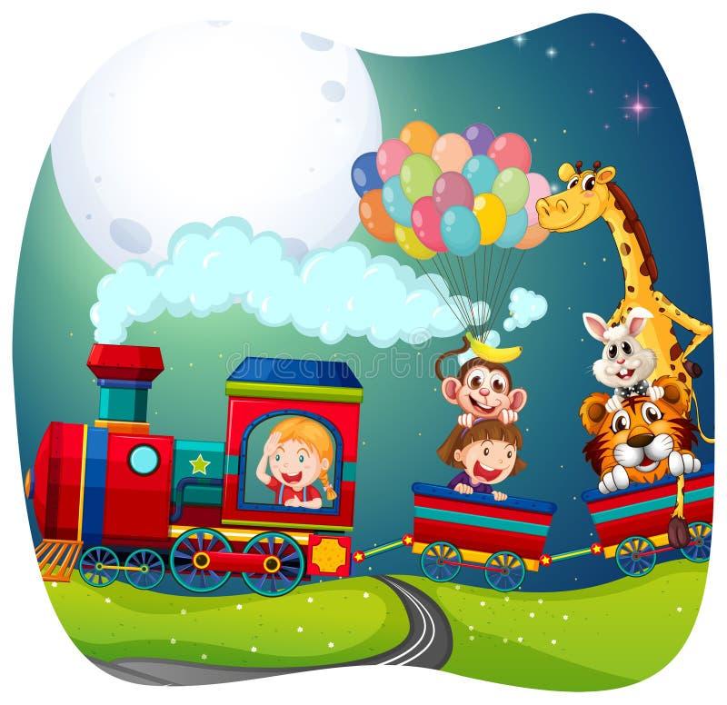 Девушки и животные на поезде иллюстрация вектора