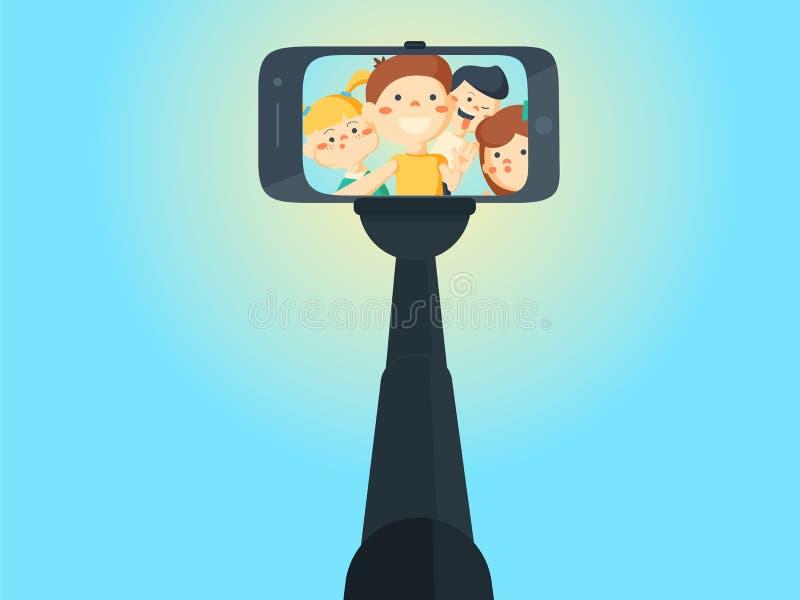 Девушки и мальчики школы подростка съемок Selfie молодые бесплатная иллюстрация