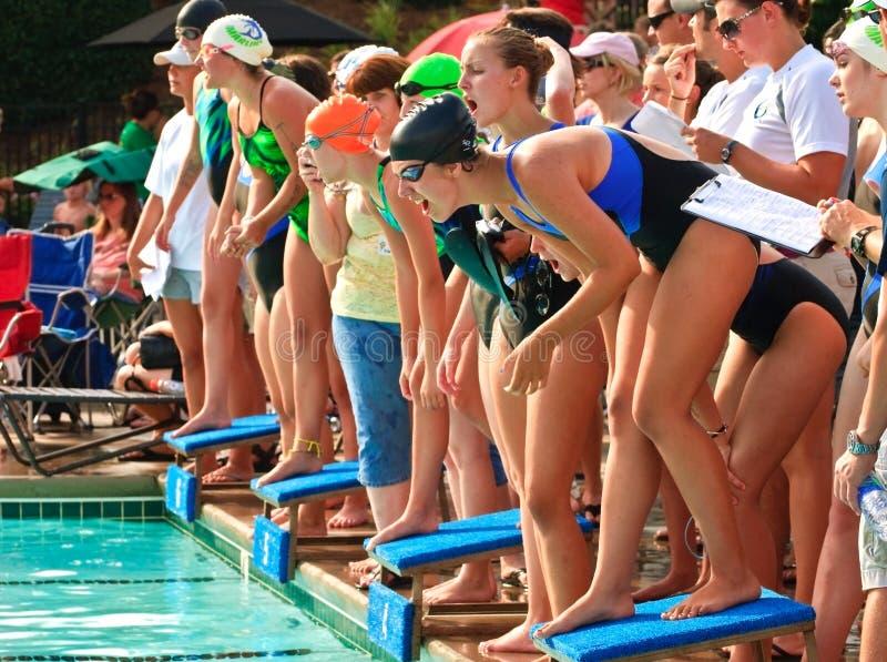 девушки конкуренции встречают swim предназначенный для подростков стоковое фото rf