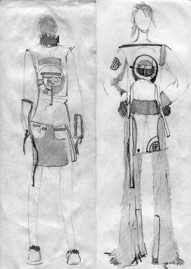 Девушки к моделям, демонстрируют ткань стоковые изображения