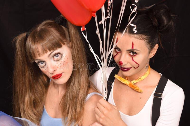 Девушки макияжа хеллоуина страшные стоковые фото