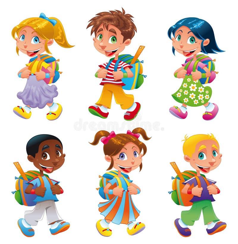 девушки мальчиков идут школа к бесплатная иллюстрация