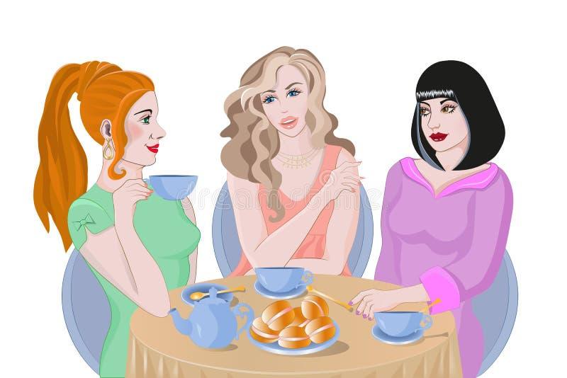 Девушки обсуждают новости над чашкой чаю иллюстрация вектора