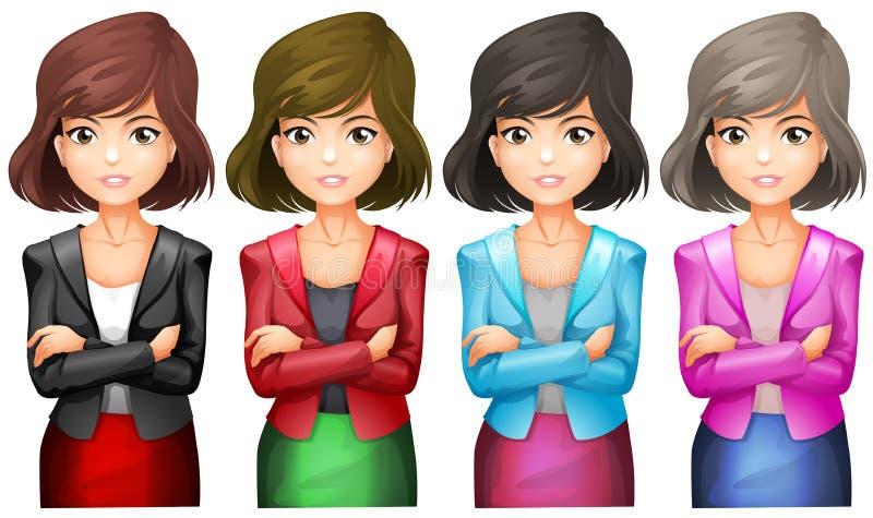 Девушки офиса в различных формах бесплатная иллюстрация