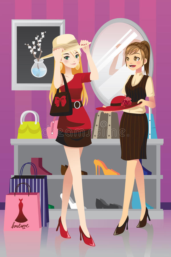 Девушки покупкы иллюстрация вектора