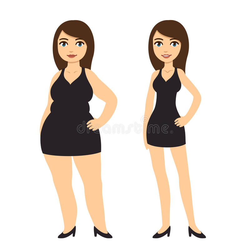 Девушки потери веса иллюстрация штока