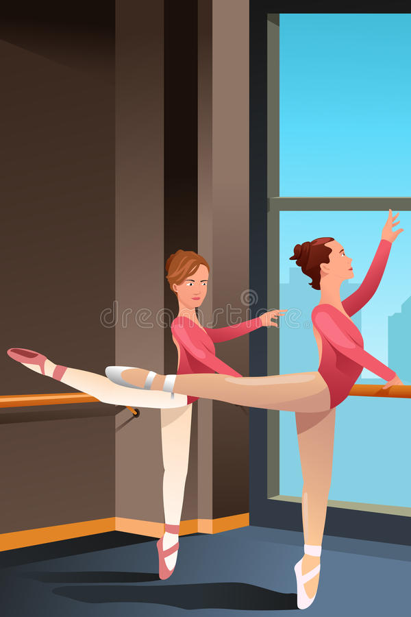 Девушки практикуя балет бесплатная иллюстрация