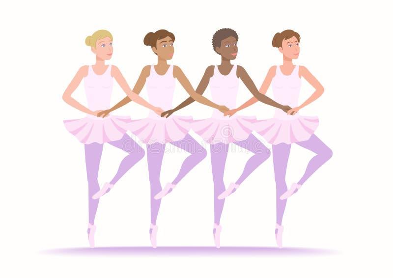 Девушки различное этнического и гонок танцуют совместно иллюстрация вектора