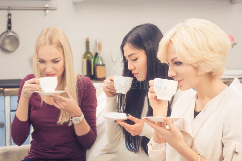 Девушки друзей имея партию дома стоковые фото