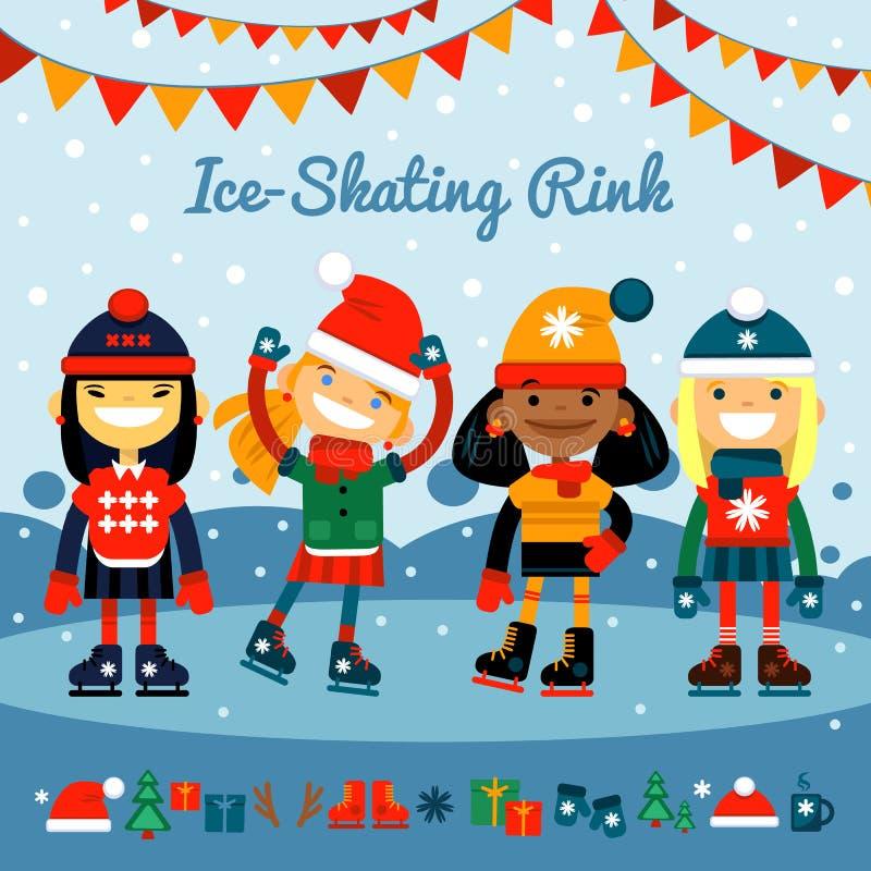 Девушки, собрание различных детей национальностей в коньках ролика на катке Спорт и воссоздание зимы Комплект  бесплатная иллюстрация