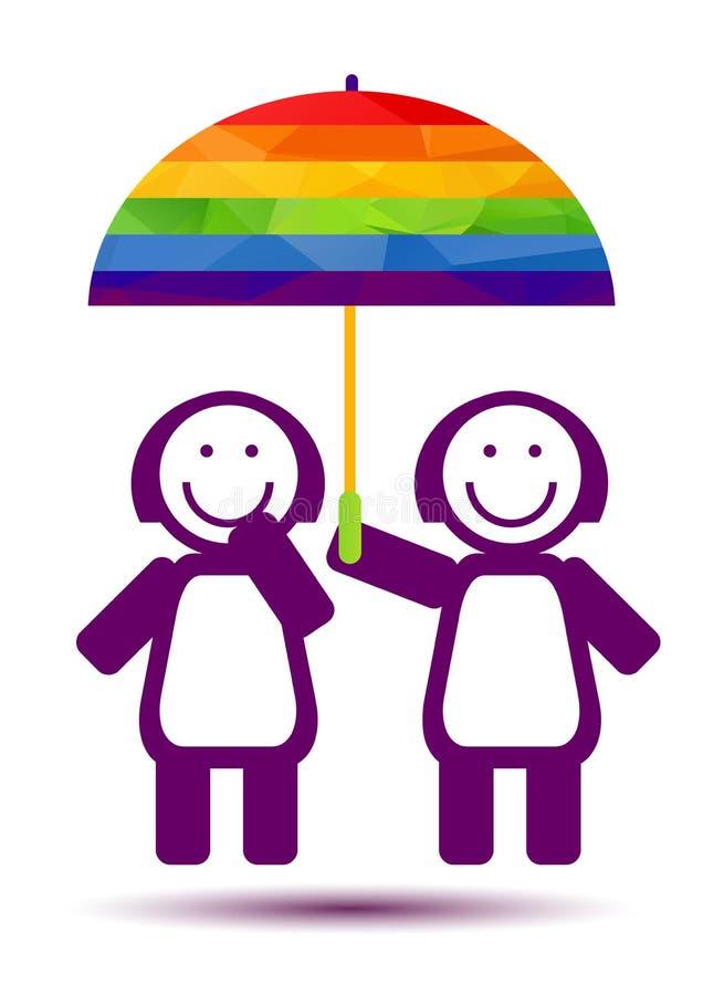 Девушки соединяют с зонтиком иллюстрация вектора