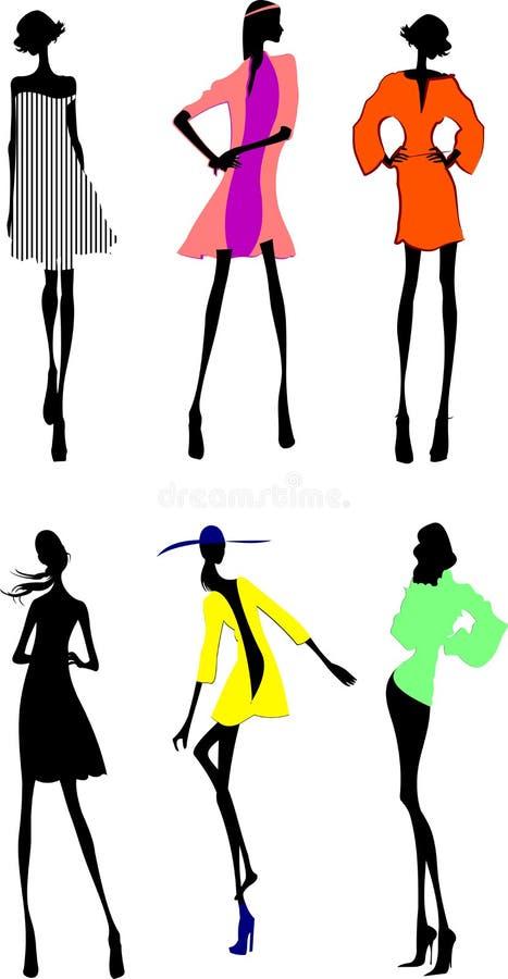 девушки способа silhouette 6 бесплатная иллюстрация