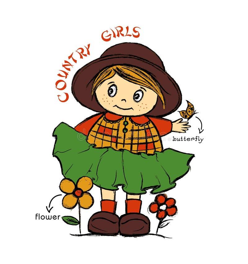 Девушки страны, печать футболки детей иллюстрация штока