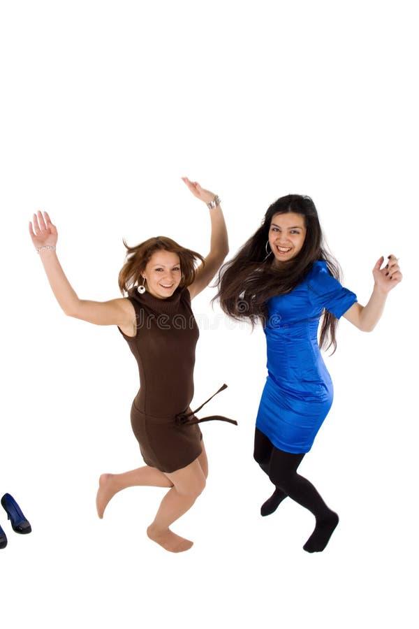 девушки счастливые скача 2 Стоковая Фотография RF